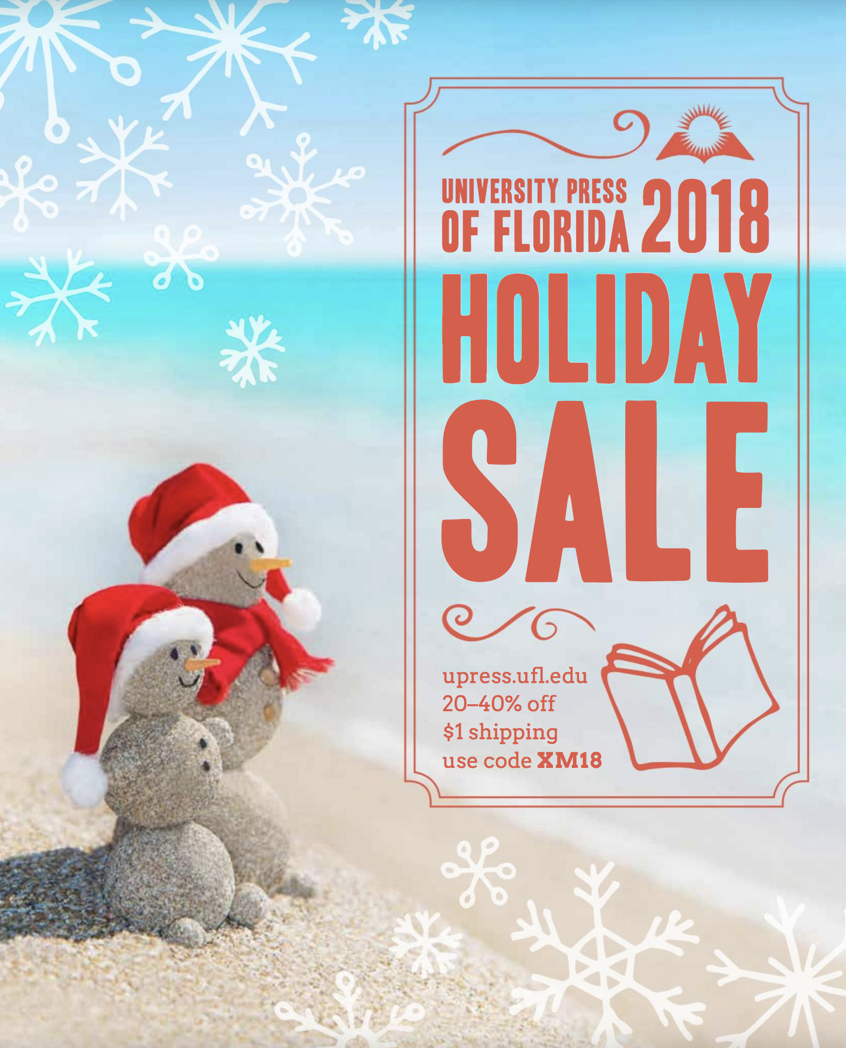 Snowmen on breach and text University Press 2018 holiday sale