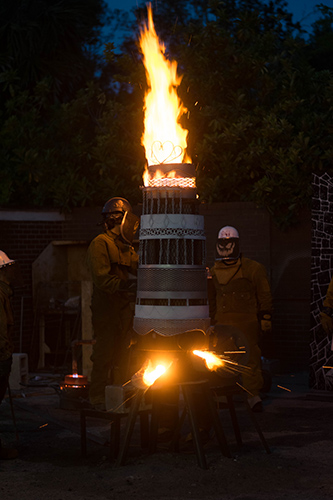 Flame ascending from wedding cake sculpture