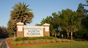 University of North Florida campus entrance sign