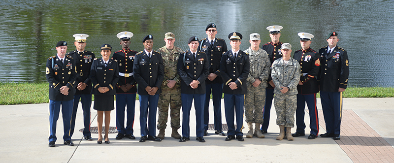 UNF's military students in dress uniform