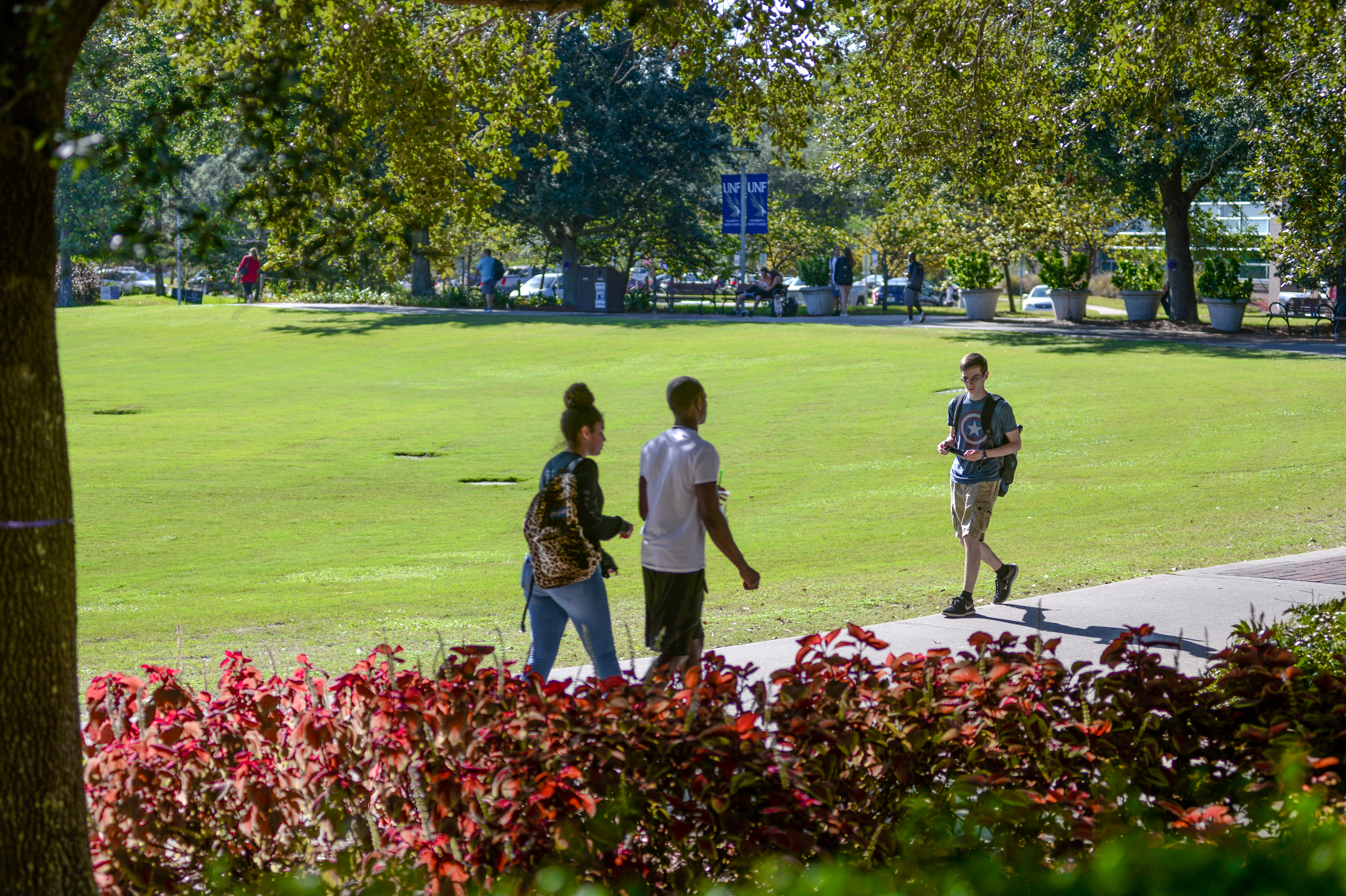 Students walking near the Green