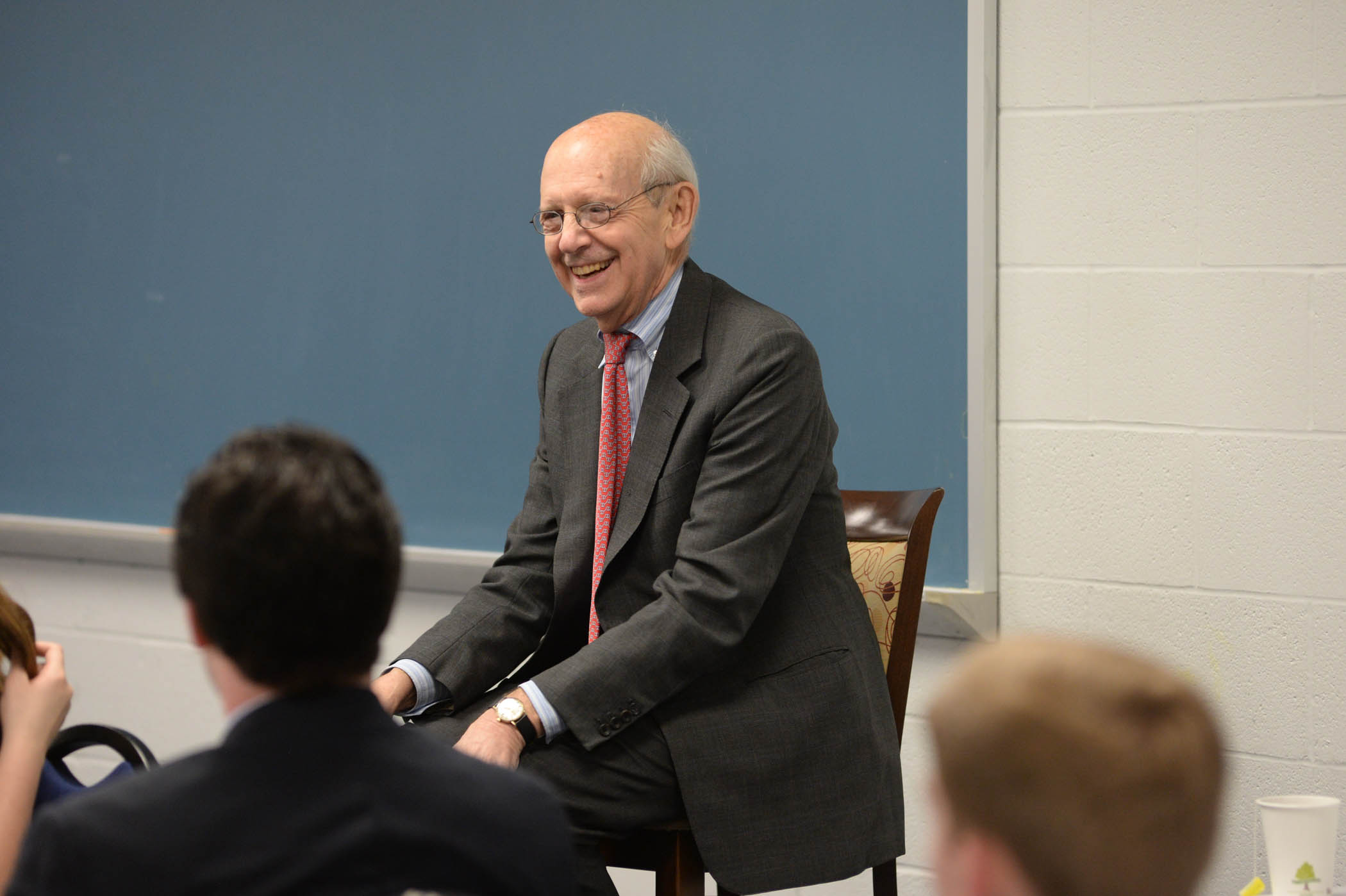Justice Stephen Breyer talking with students