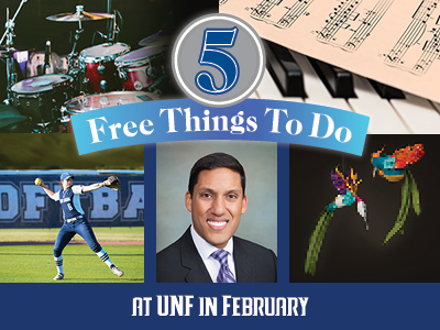 Collage of Five Free Things To Do at UNF in February - text to right