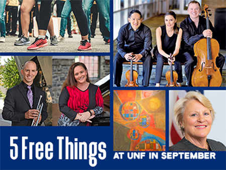UNF musicians, walkers and art - text Five free things to do at UNF in September