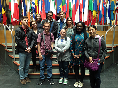 Students pose during study abroad in France