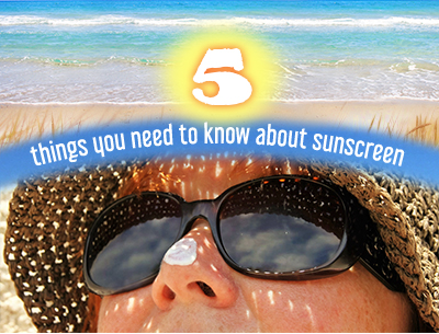 Text Five things you need to know about sunscreen and woman with sunglasses