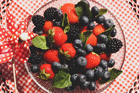 Blackberries, blueberries and strawberries