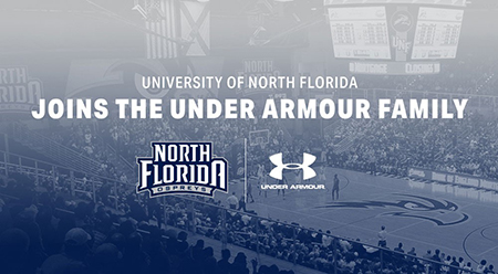 Text UNF joins the Under Armour Family over arena background