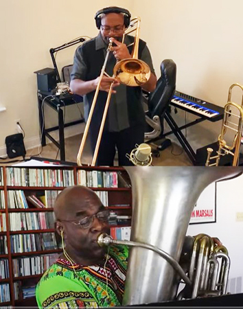 Dr. Clarence Hines on trombone; James Jenkins on tuba