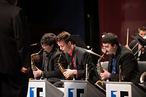 Students playing instruments in the Jazz Ensemble One