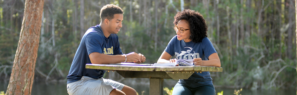 Diverse male and female students discussing homework sitting outside