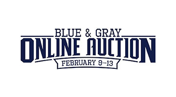 Blue and white graphic that reads - Blue and Gray Online Auction, February 9 - 13