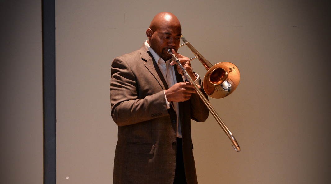 Dr. Clarence Hines performing in the UNF Lazzara Performance Hall