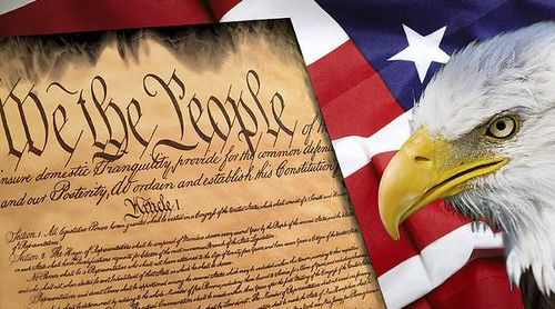 Graphic featuring the Constitution with a bald eagle and the American flag in the background