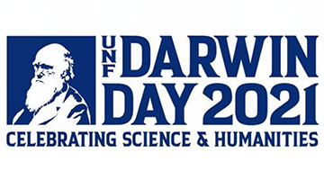 a sketch of Charles Darwin that reads - UNF Darwin Day 2021, Celebrating Science and Humanities