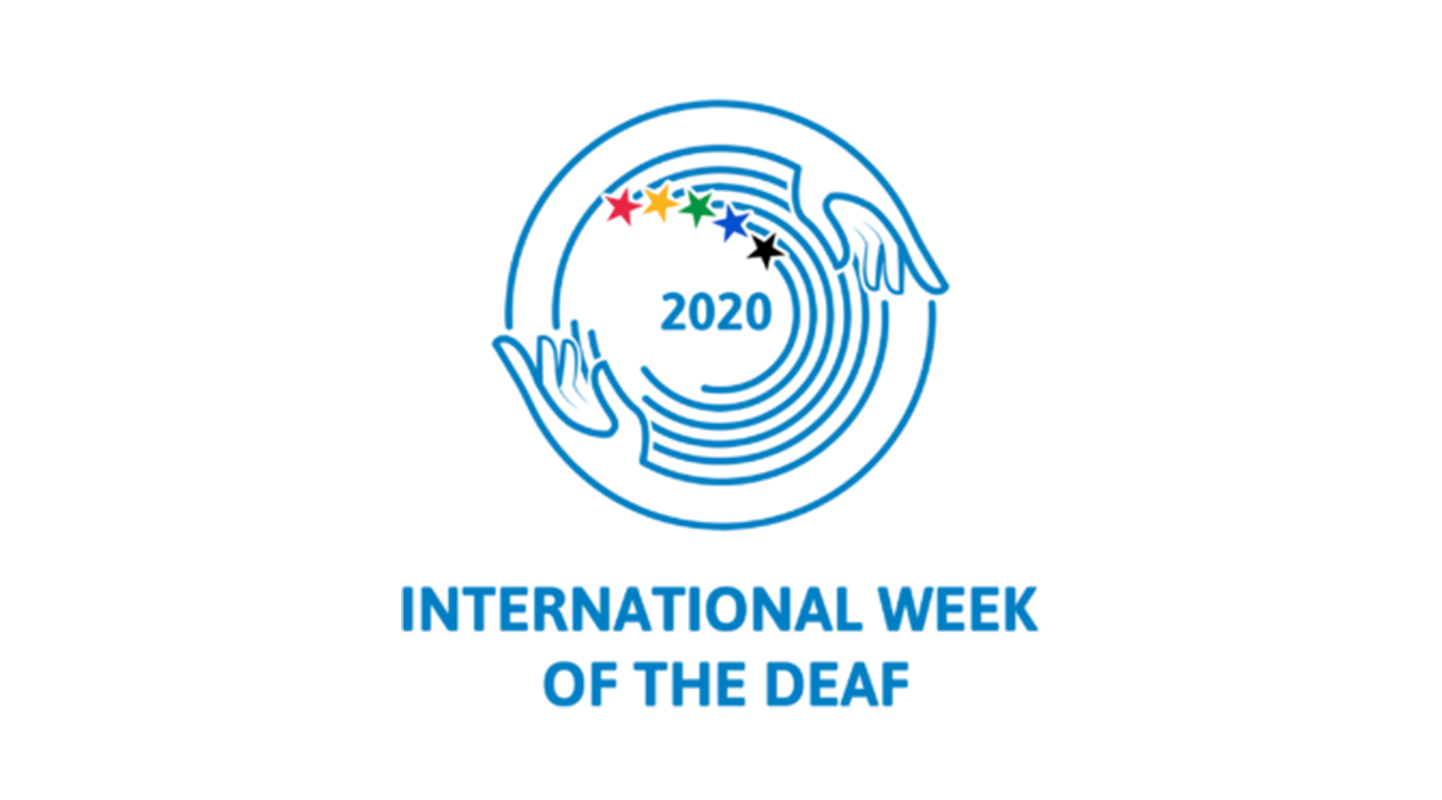 "Logo featuring two blue hands creating a circle with the text reading ""International Week of the Deaf"""