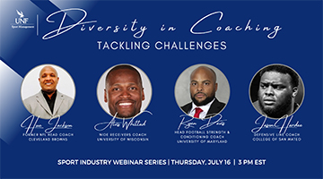 Diversity in Coaching panel featuring headshot images of Hue Jackson, Alvis Whitted, Ryan Davis and Jason Hardee with their professional titles; Sport Industry Webinar Series Thursday, July 16, 3 p.m.