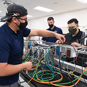 UNF engineering students work in a materials science lab on campus