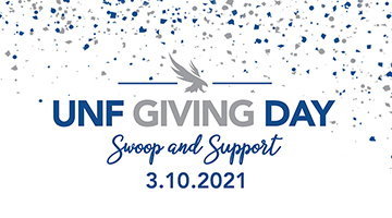 UNF Giving Day, Swoop and Support 3.10.2021 with blue and gray confetti