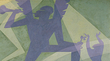 "Art piece named ""The Judgment Day"" by Aaron Douglas featuring abstract figures playing trombone"
