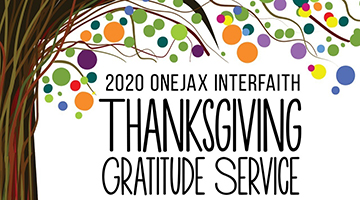 A colorful tree that reads -2020 OneJax Thanksgiving Gratitude Service