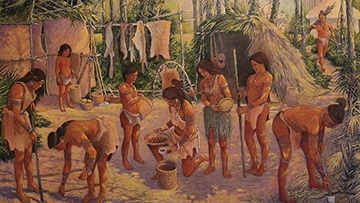 Artwork depicting a historic village of Indigenous peoples of Northeast Florida.