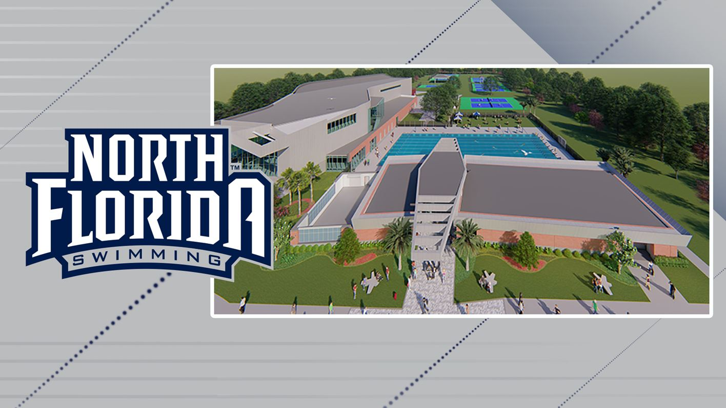 Digital mock up of new athletic complex and Olympic-sized swimming pool
