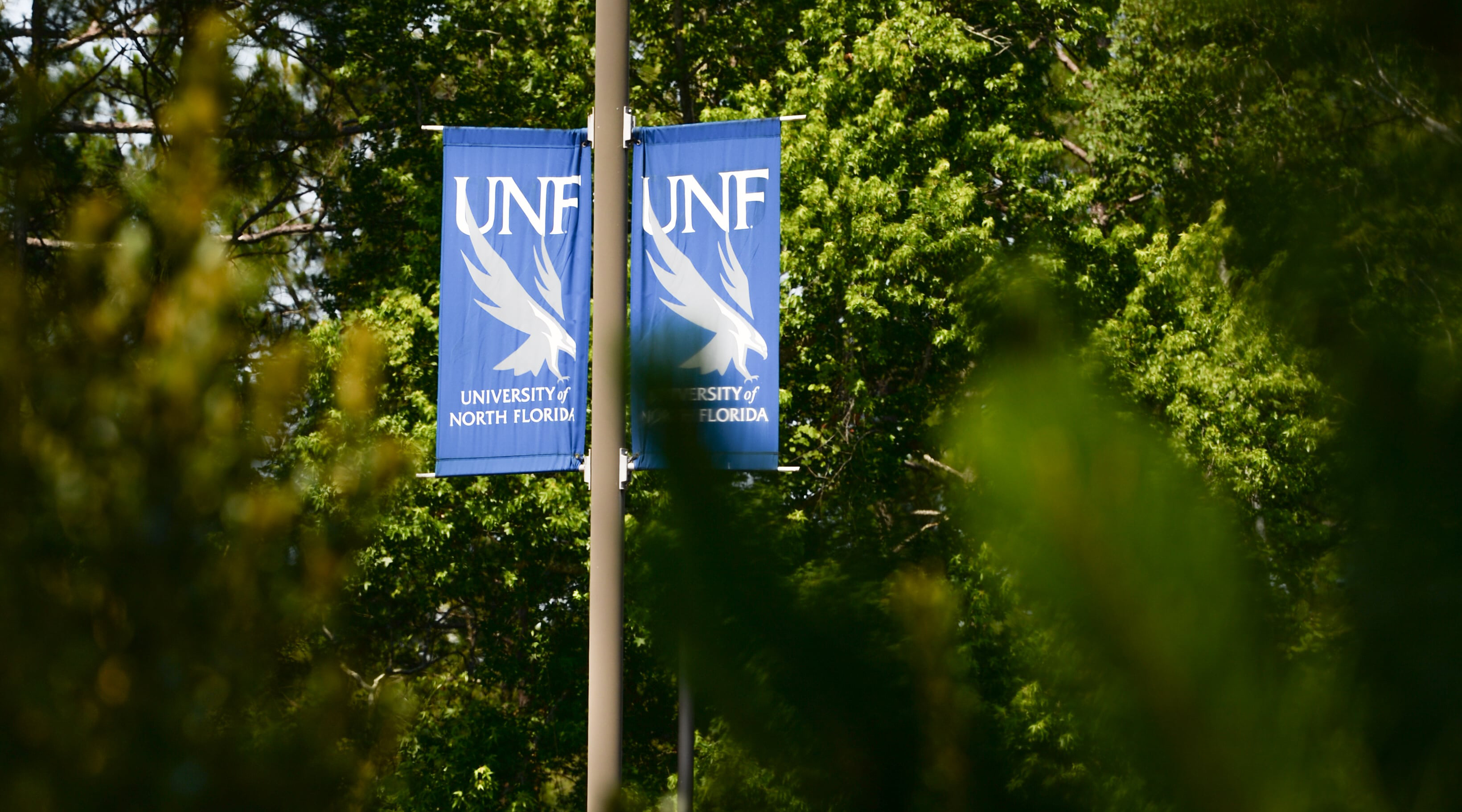 Signs with UNF logo with trees in the background