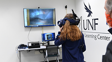 Virtual Learning Center student using VR