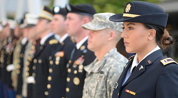 Military service members in uniform standing in a line