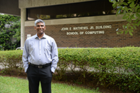Dr. Karthikeyan Umapathy outside of Building 15