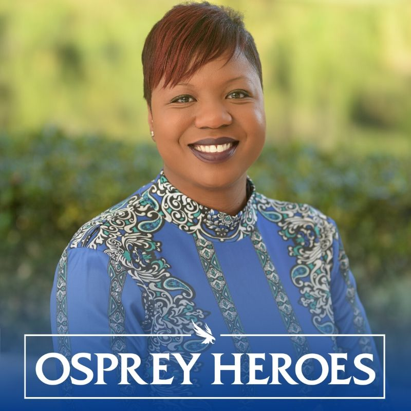 Osprey Heroes logo and Dr. Jennifer Jackson headshot