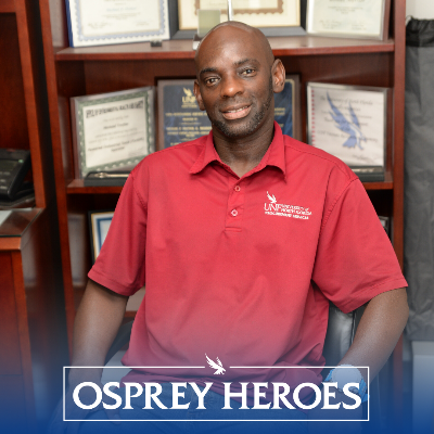 Osprey Heroes logo with Mikey Trotter headshot