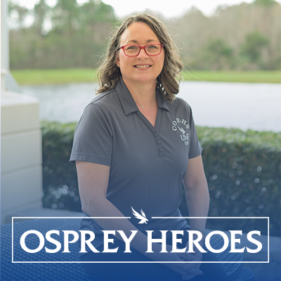 Dawn Wessling headshot with Osprey Heroes logo