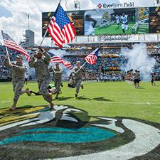 UNF ROTC Color Guard at Jags game