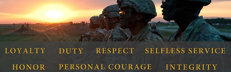 Army Values - loyalty duty respect service honor courage integrity
