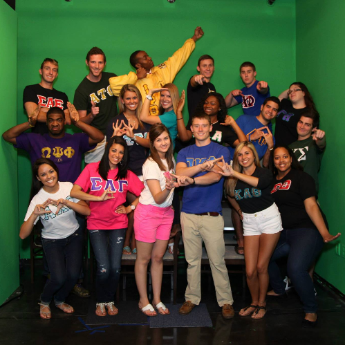 Fraternity and Sorority Life group posing together