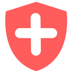 red shield with a cross representing health