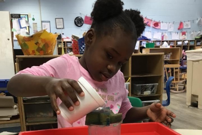 preschooler doing a science experiment with sponges and water