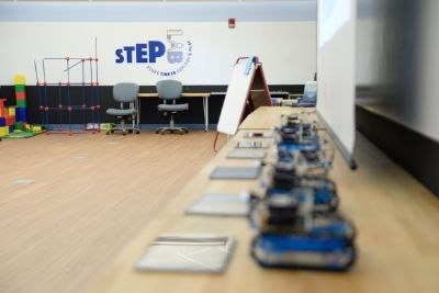 STEP lab with tables and electronics