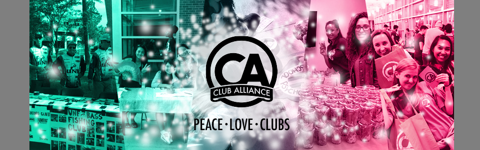 Students enjoying Club Alliance activities and the peace love clubs tagline