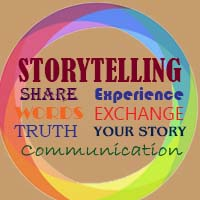 poster for storytelling - share, experience, words, exchange, truth, your story, communication