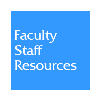 Blue box web link to Faculty Staff Resources information