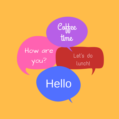 illustration with text -coffee time, how are you, hello, lets do lunch - on it