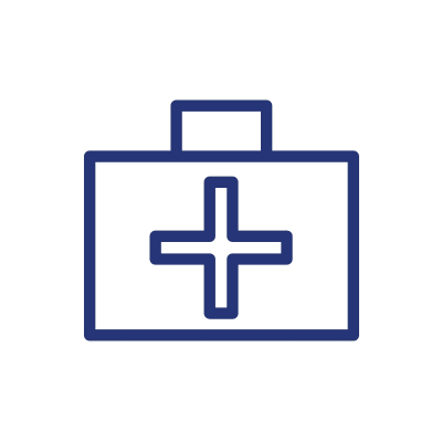 blue medical case with cross illustration