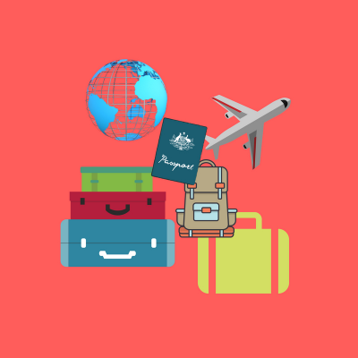 travel illustration with globe, backpack, passport and luggage