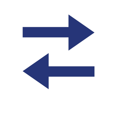 two blue arrows pointing left and right illustration