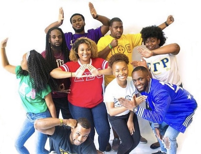 Members of different organizations representing their fraternities and sororities