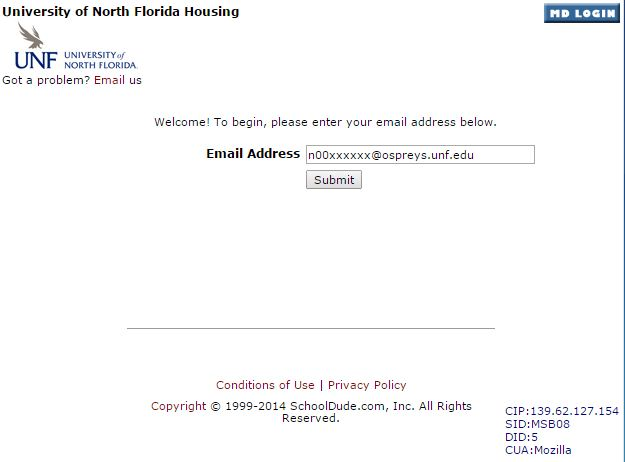 example of entering email address