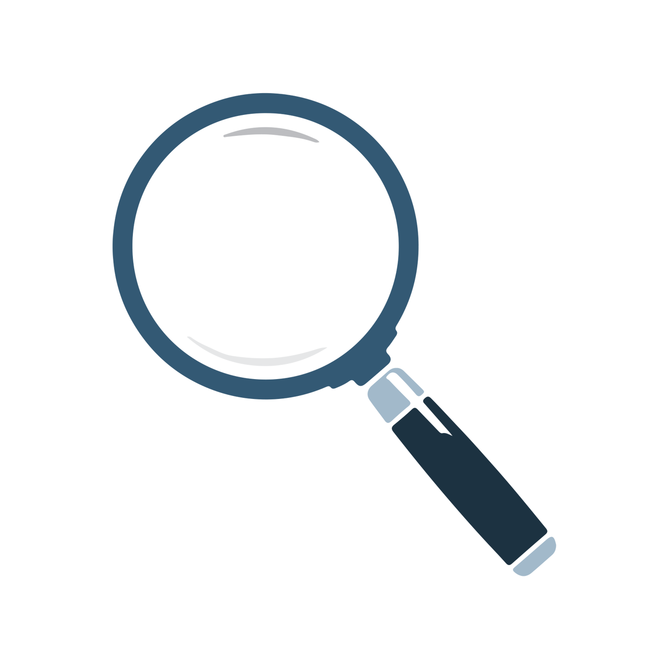 Identity and Diversity Development UNF blue magnifying glass icon